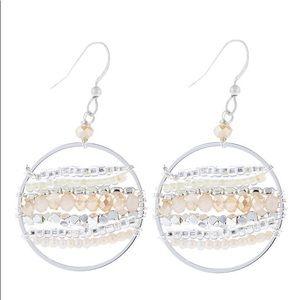 Riah fashion mixed beads natural silver earrings